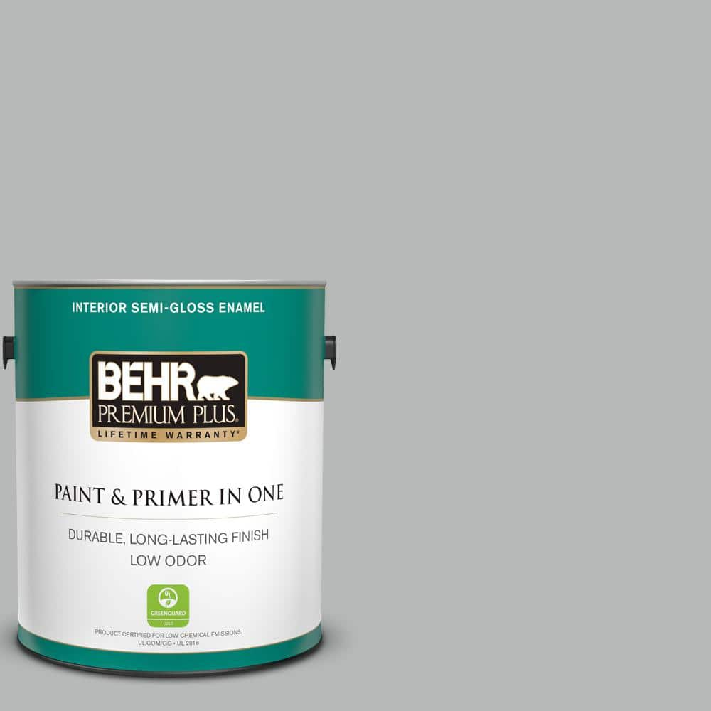 Behr Premium Plus 1 Gal N460 3 Lunar Surface Semi Gloss Enamel Low Odor Interior Paint And Primer In One 340001 The Home Depot