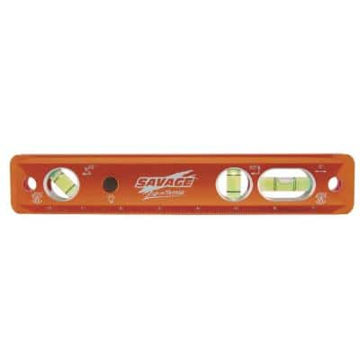 9 in. Aluminum Lighted Magnetic Torpedo Level with 3 Bubble Vials, Etched Ruler and Straight Edge
