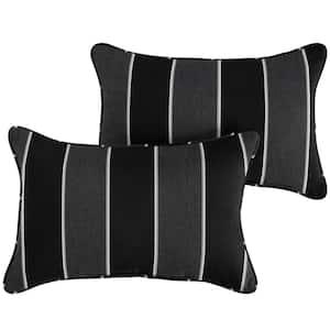 Sorra Home Sunbrella Black Grey Stripe Rectangular Outdoor Corded Lumbar Pillows (2-Pack)