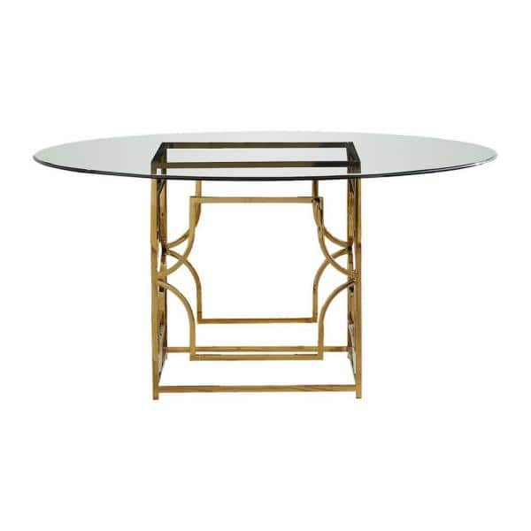 Shane 54 In Gold Glass Round Dining, Glass Round Dining Table