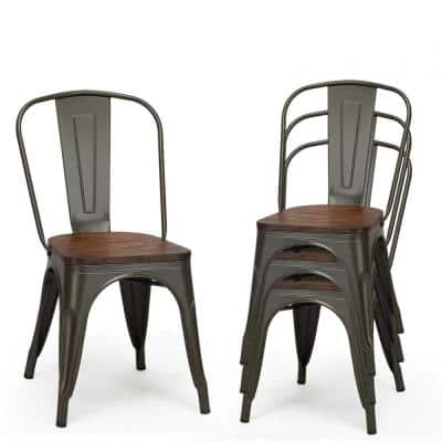 Metal Slat Back Dining Chairs, Metal Dining Room Chairs
