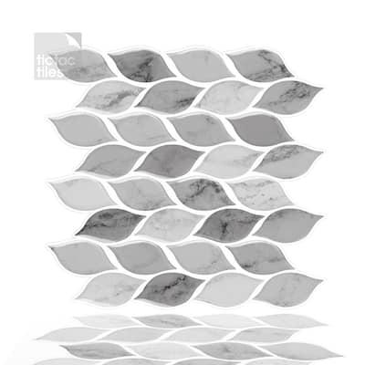 Foglia Grigio 10 in. W x 10 in. H Gray Peel and Stick Decorative Mosaic Wall Tile Backsplash (6-Tiles)