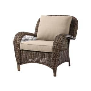 Beacon Park Brown Wicker Outdoor Patio Stationary Lounge Chair with CushionGuard Putty Tan Cushions