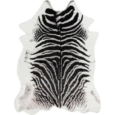 Zebra Black 5 ft. 3 in. x 7 ft. 10 in. Area Rug