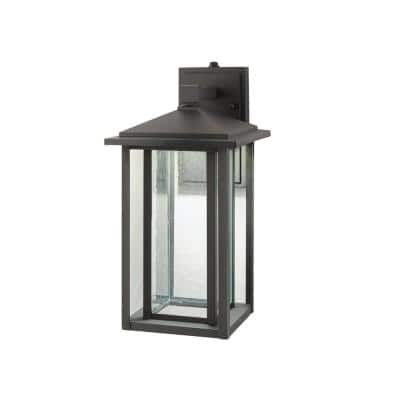 Mauvo Canyon Collection Black Outdoor Seeded Glass Dusk to Dawn Wall Lantern Sconce