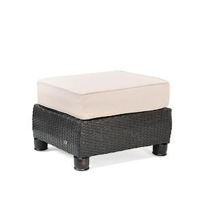 Breckenridge Wicker Outdoor Ottoman with Sunbrella Spectrum Sand Cushion