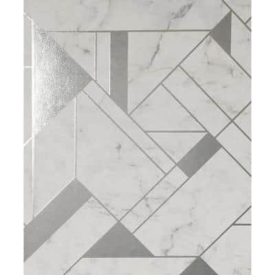 Geometric Silver Non Pasted Wallpaper Home Decor The Home Depot