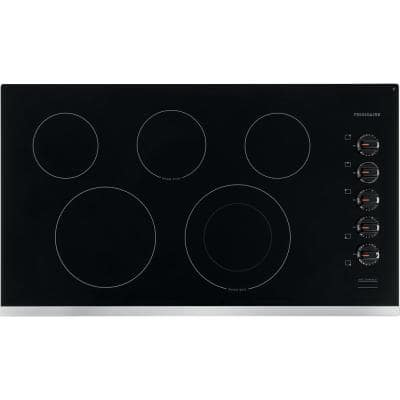 36 in. Radiant Electric Cooktop in Stainless Steel with 5 Elements including Quick Boil Element