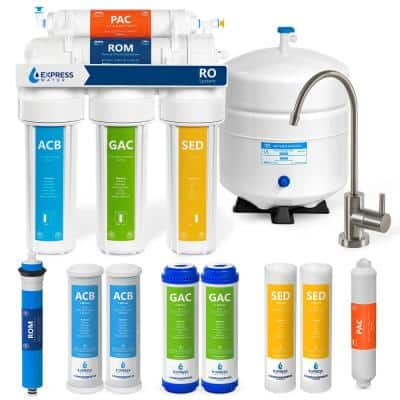 Reverse Osmosis 5 Stage Water Filtration System - with Faucet, Tank, and 4 Replacement Filters - 50 GPD