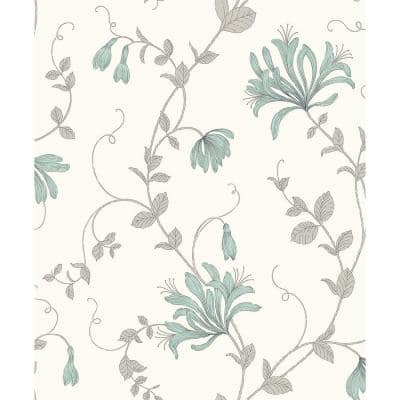 Barbara Turquoise Floral Trail Paper Peelable Roll (Covers 56.4 sq. ft.)