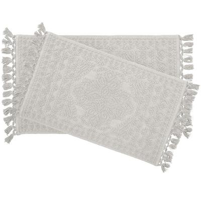 Nellore Fringe Cotton Light Gray 17 x 24 in./20 x 34 in. 2-Piece Bath Rug Set