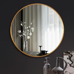 Medium Round Gold Shelves & Drawers Modern Mirror (32 in. H x 32 in. W)