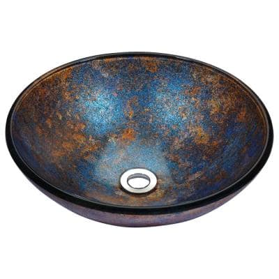 Stellar Series Deco-Glass Vessel Sink in Sapphire Burst
