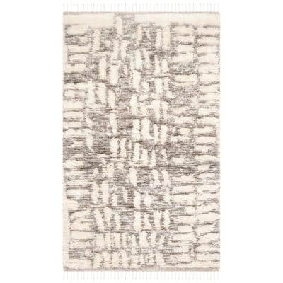 Manhattan Ivory/Gray 4 ft. x 6 ft. Gradient Abstract Area Rug