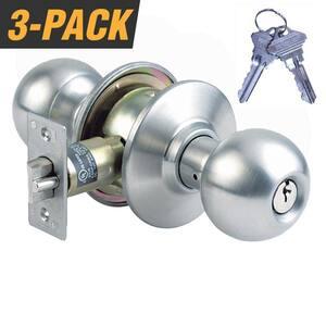 Stainless Steel Grade 2 Storeroom Door Knob with 6 SC1 Keys (3-Pack, Keyed Alike)