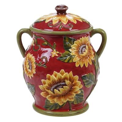 Sunset Sunflower Ceramic Biscuit Jar