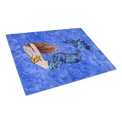 Brunette Mermaid on Blue Tempered Glass Large Cutting Board