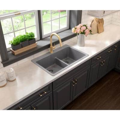 Drop-in/Undermount Granite Composite 33 in. 1-Hole 50/50 Double Bowl Kitchen Sink with Low Divide in Gray