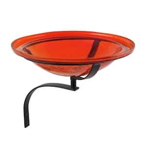 12.5 in. Dia Red Reflective Crackle Glass Birdbath Bowl with Wall Mount Bracket