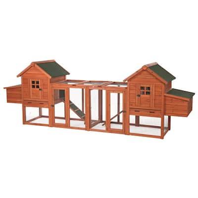 123.5 in. L x 27.5 in. W x 42.5 in. H Chicken Coop Duplex with Outdoor Run