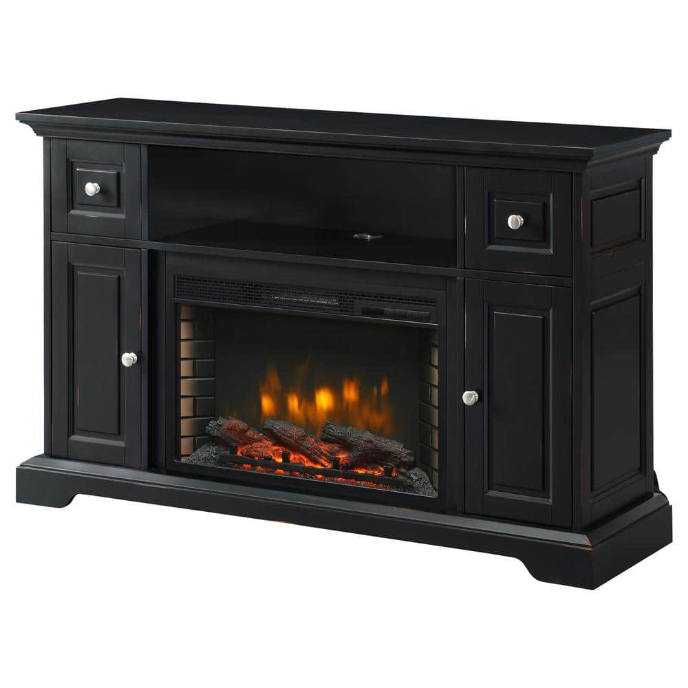 Muskoka Sutherland 53 In Freestanding Electric Fireplace Tv Stand In Aged Black 370 895 229 The Home Depot