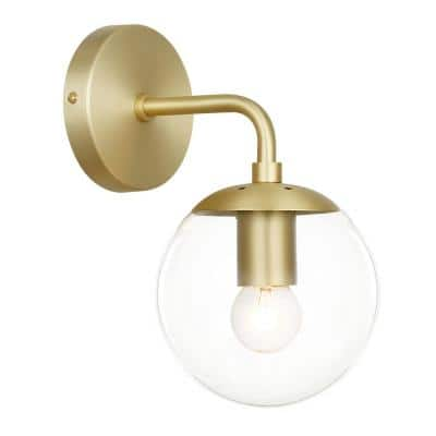 Zeno Globe Brushed Brass Wall Sconce with Clear Shade