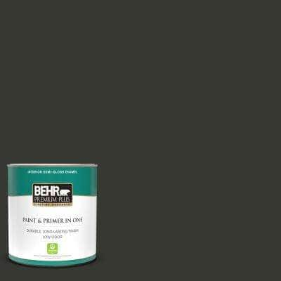 1 qt. #T13-3 Black Lacquer Semi-Gloss Enamel Low Odor Interior Paint and Primer in One