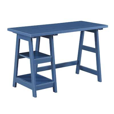 Designs2Go 47 in. W Rectangular Cobalt Blue Wood Writing Desk with Trestle