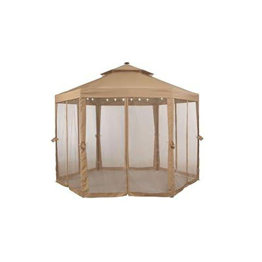 Hampton Bay 10 Ft X 10 Ft Solar Gazebo Outdoor Patio Replacement Netting Gfs00679b Net The Home Depot