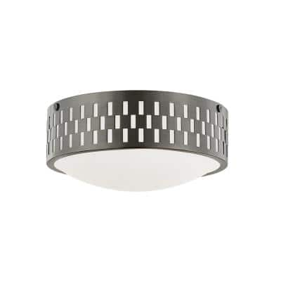 Phoebe 4.5 in. 2-Light Old Bronze Flush Mount with Opal Matte Shade