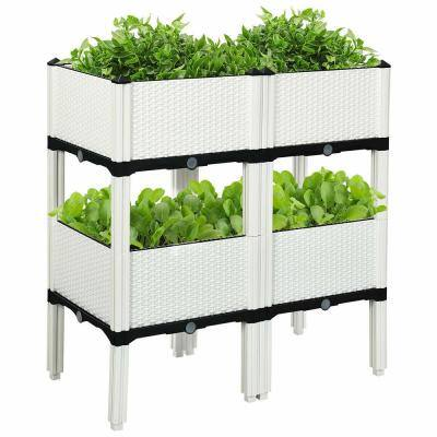 16 in. L x 16 in. W x 17.5 in. H White Plastic Raised Bed Elevated Flower Vegetable Herb Grow Planter Box (Set of 4)