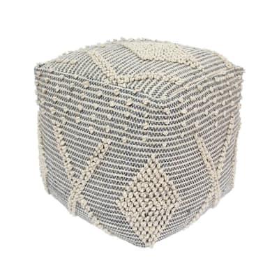 Brinket Ivory and Grey Cube Pouf Ottoman