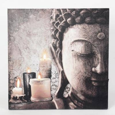 """""""Zen Buddha and Candles"""" Printed Wall Art with LED Lights"""