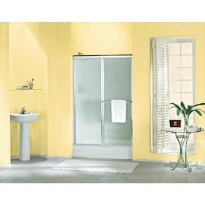 Deluxe 48-7/8 in. x 70 in. Framed Sliding Shower Door in Silver with Handle