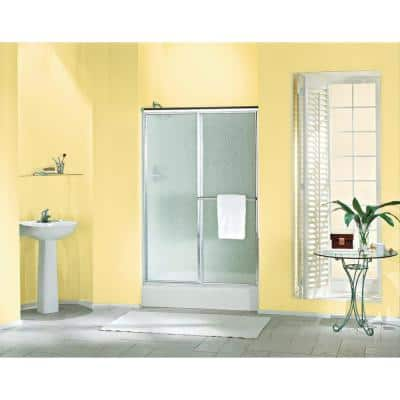 Deluxe 48-7/8 in. x 70 in. Framed Sliding Shower Door in Silver with Handle