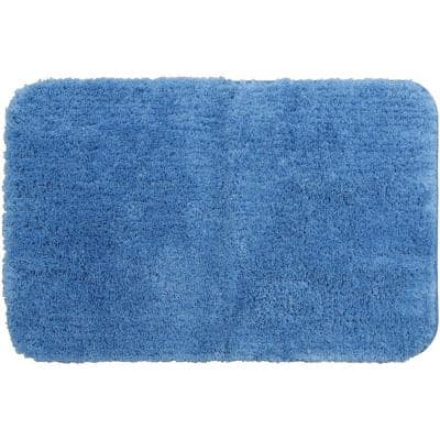 Duo Blue 24 in. x 38 in. Nylon Machine Washable Bath Mat