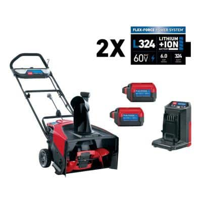 Power Clear 21 in. 60-Volt Lithium-Ion Brushless Cordless Electric Snow Blower with Two 6.0 Ah Batteries and Charger