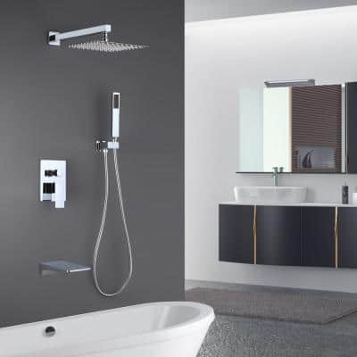 Single-Handle 1-Spray Tub and Shower Faucet in Chrome with 2 GPM 12 in. 3 Functions Dual Shower Heads (Valve Included)