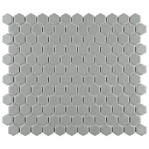 Metro Hex 11-3/4 in. x 10-1/4 in. x 6mm Matte Light Grey Porcelain Mosaic Tile (8.56 sq. ft. / case)