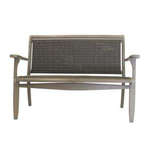 3-Person Grey Wood and Wicker Outdoor Bench