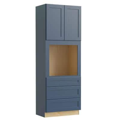 Blue Painted Plywood Shaker Stock Assembled Double Oven Kitchen Cabinet Doors Drawers (33 in. W x 90 in. H x 24 in. D)