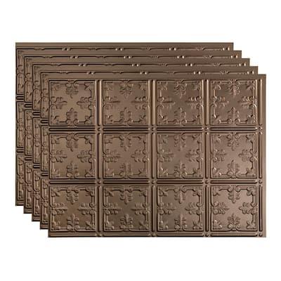 Traditional 18 in. x 24 in. Argent Bronze Vinyl Decorative Wall Tile Backsplash 15 sq. ft. Kit