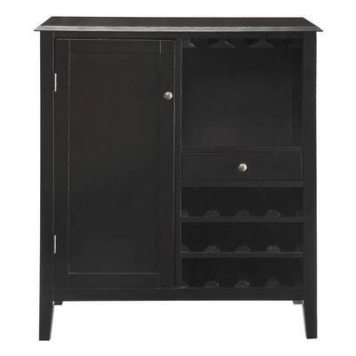 Kent 12-Bottle Black Bar Cabinet