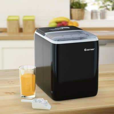 10.5 in. 44 lbs./24 Hour Portable Ice Maker Self-Clean with Scoop in Black