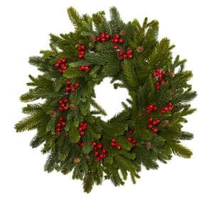 22 in. Pine Pinecone and Berry Artificial Wreath