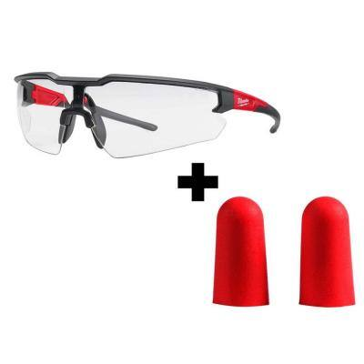 Safety Glasses with Clear Lenses with Red Disposable Earplugs (10-Pairs)