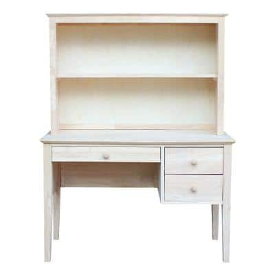 Unfinished Solid Wood 46 in. Wide Brooklyn Desk with Hutch (2-pc set)