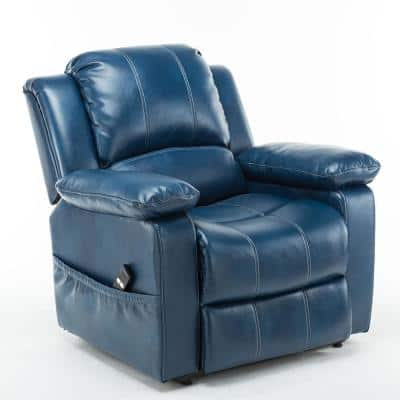 Spence Navy Blue Faux Leather Lift Chair
