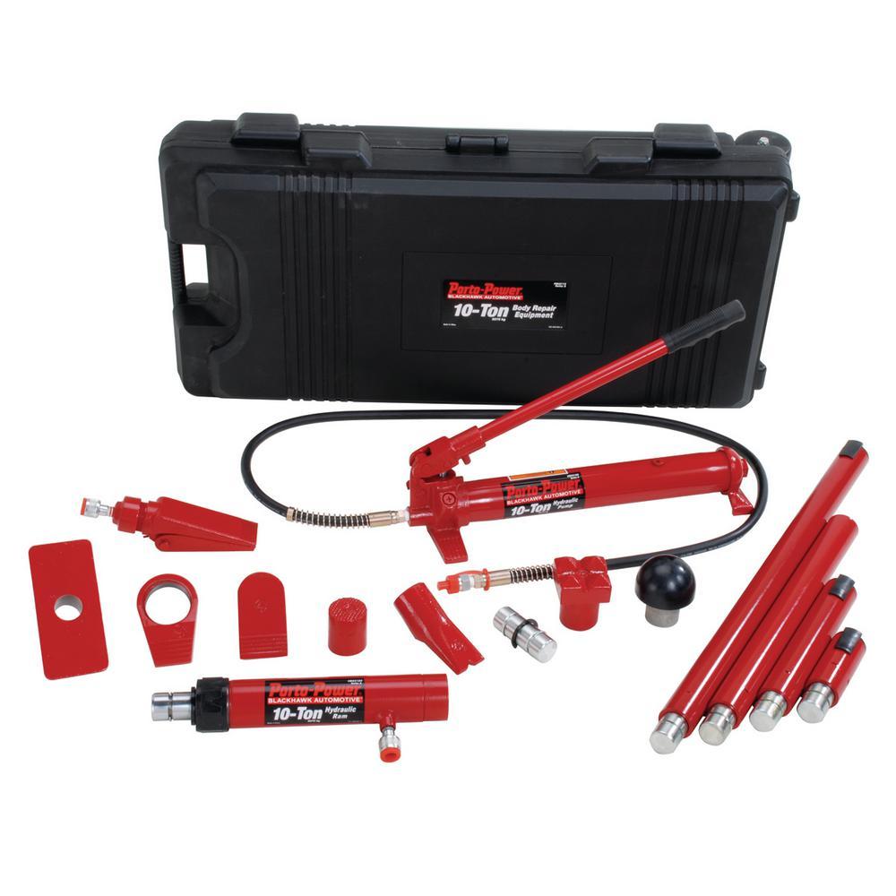 10-Ton Hydraulic Body Repair Kit in Black/Red (19-Piece)