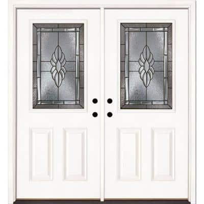 66 in. x 81.625 in. Sapphire Patina 1/2 Lite Unfinished Smooth Right-Hand Inswing Fiberglass Double Prehung Front Door